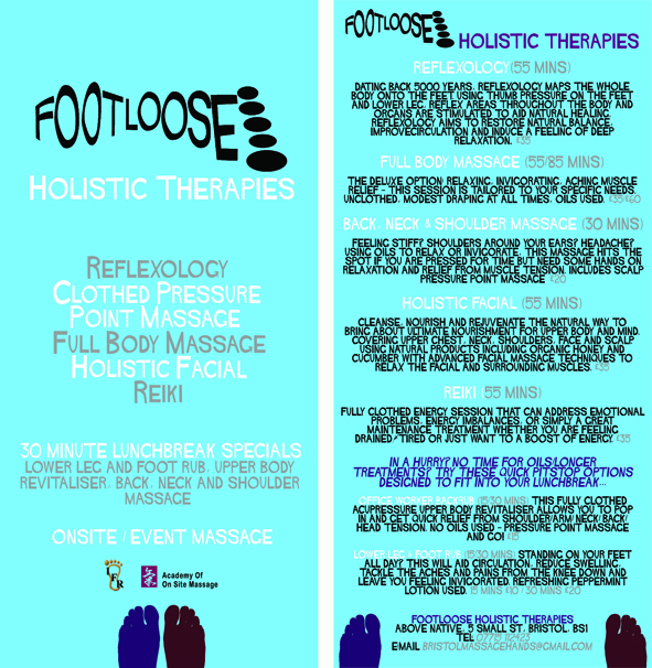 Footloose Holistic Therapies flier, 2009 (lo res copy)